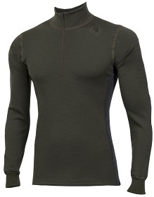 Bild på Aclima WarmWool Mock Neck Shirt Man Olive Night/Marengo