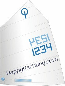 "Bild på North Sails Optimist Segel ""Happy Yachting"""